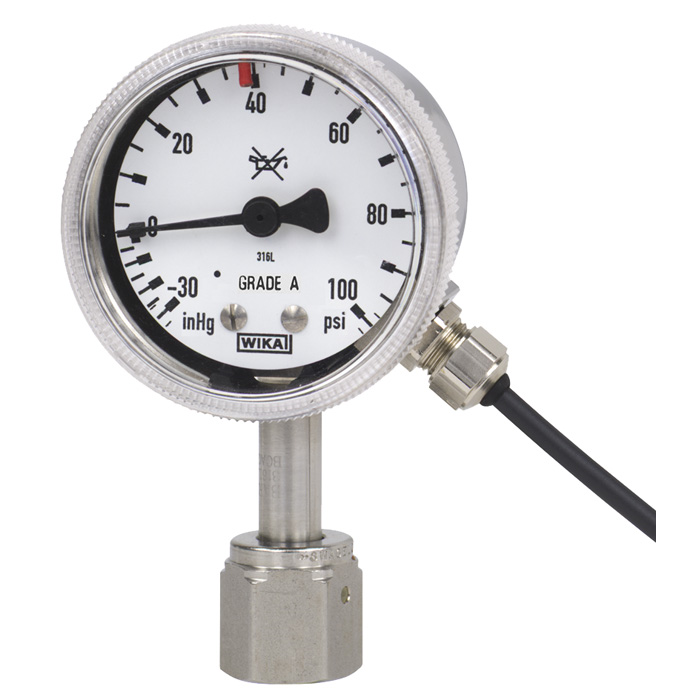 Bourdon tube pressure gauge with switch contacts - 230 15-851 - WIKA